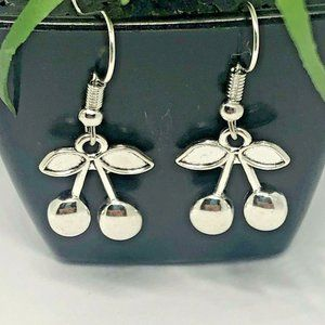 Antique Silver Earrings Cherry Dangle French Hook